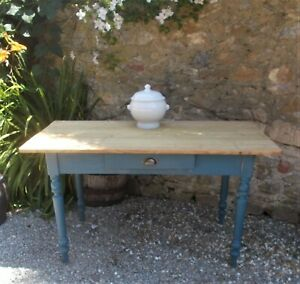 Antique table, scrubbed pine top on painted & polished legs, kitchen, dining