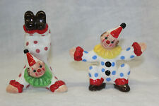 Vtg Set of 2 Ceramic Clown Figures Japan Polka Dot