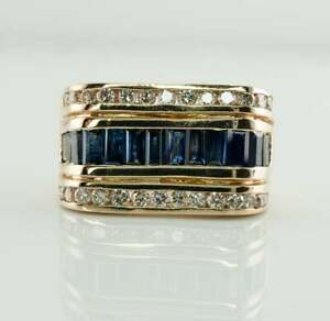 Channel Set Men's Engagement Wedding Ring 14K Yellow Gold Filled 2.5 Ct Sapphire