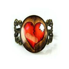 Gothic Broken Bandaged Heart Valentines Day Jewelry Emo Love Glass Bronze Ring