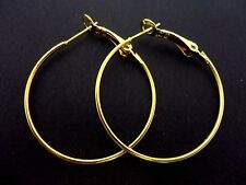 A PAIR OF GOLD PLATED 35MM 3.5CM  HOOP  EARRINGS. NEW.