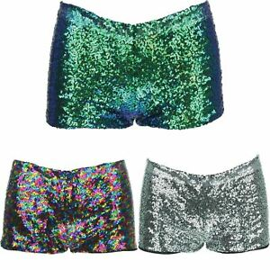 SEQUIN HOT PANTS SPARKLY SHORTS DISCO GLITTER FESTIVAL PARTY PRIDE LOW RISE