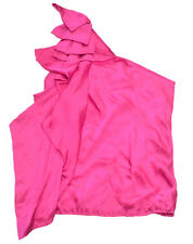 FOREVER NEW Silk Party Hot Pink 1 Shoulder Ribbon Ruffles Ladies Top Blouse BNWT