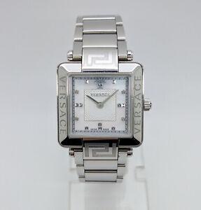 Versace Reve Carre 88Q99SD497 Silver Tone 4 Diamonds White MOP Dial Womens Watch