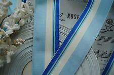 """1y VTG 1 3/8"""" OCEAN BABY BLUE STRIPE GROSGRAIN RIBBON TRIM FRENCH DRESS HAT DOLL"""
