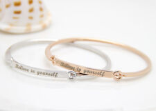 Silver Plated Colour BELIEVE IN YOURSELF Bracelet Jewelry Charm Cuff Bangle Gift