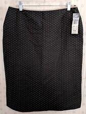 NWT Kasper 12 Skirt Lined Side Slits Back Zip Black Tan Career Dressy NEW $60 A3