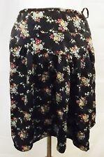Rebecca Taylor Skirt Silk Peasant Drawstring Waist Navy Blue Floral Print sz 6
