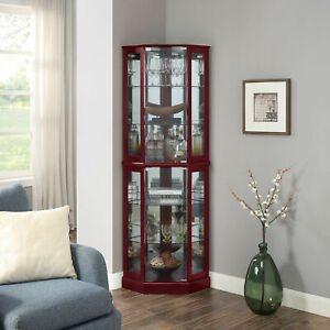Ashfield Lighted Wood/Glass Curio Corner Cabinet Floor Standing, 2 Colors