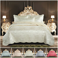 Luxury Quilted Bedspread Satin Bed Throw with Pillow Shams Double & King Size