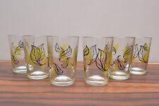 Gorgeous set of 6 leaf design mid century vintage 50s atomic era shot glasses