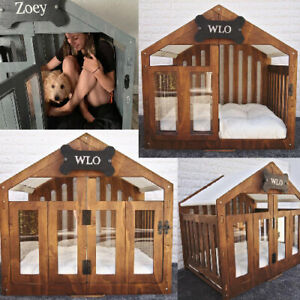 Custom Wood Dog House Luxury Indoor Outdoor Small Large Dogs Cage Pet Kennel