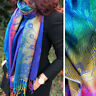 Blue Feather Floral Peacock Scarf Long Bright Rainbow Multicolour Pashmina Shawl