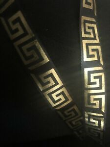 UK SALE 15mm satin metallc Greek Key ribbon designer black & gold choose length