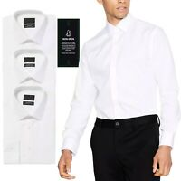 Ex Debenhams Mens White Shirt Long Sleeve Plain Button Up Formal Classic Busines
