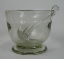Large hand blown Georgian glass mortar and pestle. 2.95kg Chemist Apothecary