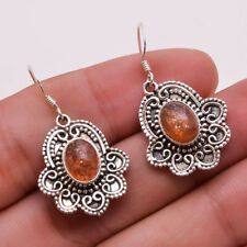 925 Sterling Silver Earrings, Natural Sun Stone Handcrafted Women Jewelry CE666