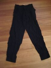 LADIES CUTE BLACK RAYON ELASTICATED CASUAL PANTS BY SUPRE - SIZE XXS - AUS 6/8