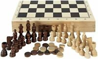 New 3 in1 Folding Wooden Chess Set Board Game Chess Checkers Backgammon Draughts