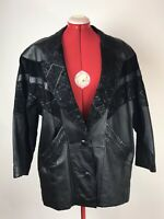 Preston & York Petite Car Coat Women Sz M Black Leather Jacket Button Front