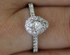GIA Certified E-VS2 Pear Shaped Diamond Halo Engagement Ring 14K White Gold