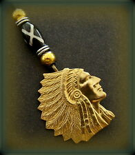 Embossed INDIAN Head CHIEF Pendant Jewelry -  Detailed Brass Indian Head