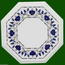 "12"" Marble Side Table Top Lapislazuli Inlay Handmade Home Decor Art"