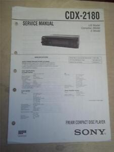 Sony Service Manual~CDX-2180 CD Compact Disc Player/Tuner~Original