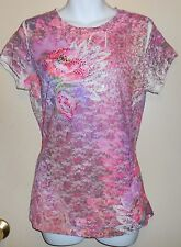 Cocomo Ladies Cap Sleeve Embellished Lace & Studs Top Pink Multi Large (L) NWT