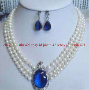 Elegant 3 Rows 6-7mm White Pearl Sapphire Pendant Necklace Earrings Set 17-19''