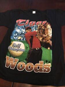 Vintage 90s Bay Club Size XL Bootleg Tiger Woods Black Rap Tee Shirt