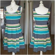 NINE WEST Fit & Flare Cotton Stripe DRESS UK size 12 - 14  US size 10 IMMACULATE