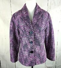 ALFRED DUNNER Pink Purple Tweed Button Blazer 8 Petite Pink Lined 3/4 Sleeve