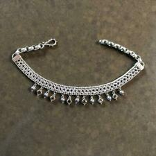 STERLING SILVER Heavy Weaved Chain Necklace With Pearl and Gem Charms