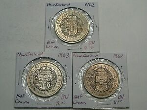 3 BU Half Crowns New Zealand: 1962 & 1963 (2).  #39
