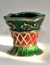 Christmas Gold-tone Jeweled Red & Green Enameled Fancy Tealight Holder Nib