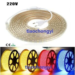 1-20M Waterproof 5050 SMD 60 LEDs/M Flexible LED Strip Tape Rope Light 220V