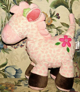 "CARTER'S PINK GIRAFFE WIND UP MUSICAL MOVEMENT ROCK A BYE BABY TOY 12"" Plush"