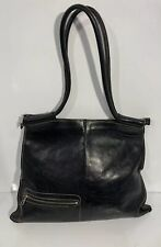 Christopher Kon Black Leather Purse Hobo Shoulder Arm Handbag Authentic Vtg H2