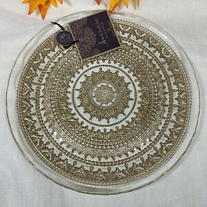 Artistic Accents Gold Medallion Clear Scalloped Glass Dinner Plates Set of 4 New