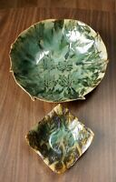 Studio Pottery Bowl Freeform Decorative Plate Tray Jensen Wisconsin Nature Leaf