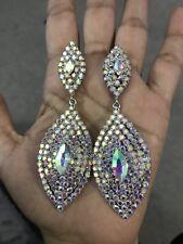 Borealis Ab Austrian Crystal Pageant Earrings 3.5� Big Long Silver Clear Aurora