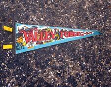 VALLEY FORGE battle vtg felt pennant 1950s beat-up George Washington mini flag
