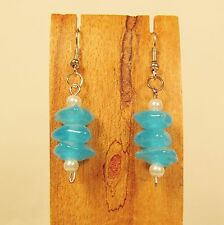 "1""  Aqua Blue Color Dainty Triple Bead Glass Pearl Handmade Drop Dangle Earring"