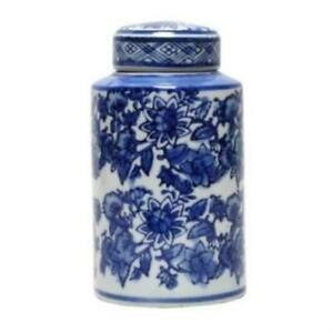 Blue and White Botanical Ceramic Ginger Jar Round Cannister Hamptons Coastal