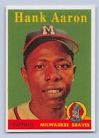 "1958  HANK AARON - Topps ""REPRINT"" Baseball Card # 30 - MILWAUKEE BRAVES"