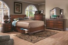King Size Bed Cherry Finish Bedroom Headboared & Footboard 2 base Storage Drawer
