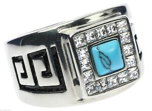 Turquoise Stone Cz Border Aztec Healing Stainless Steel Men's Ring Size 13 T53
