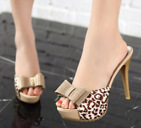 Women Slim High Heel Platform Leopard Mules Bow Slip On Sandals Peep Toe Shoes