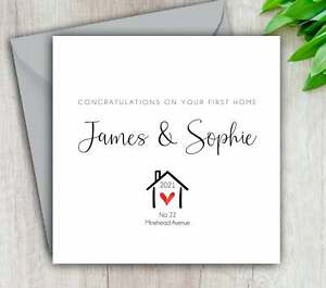 First Home Card, New Home, Congratulations, Moving, Personalised and Handmade